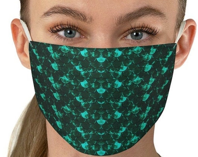 MASK MERMAID FACE Mask for Adults One Size Mermaid Fish Scale Print Face Mask Protective Face Covering Fabric Face Mask Washable Reusable