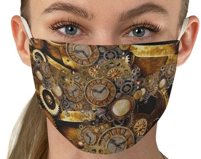 STEAMPUNK FACE MASK - Double Fabric Face Mask - Unisex Adult Mask - Protective Face Covering - One Size Reusable Washable Steampunk Clothing