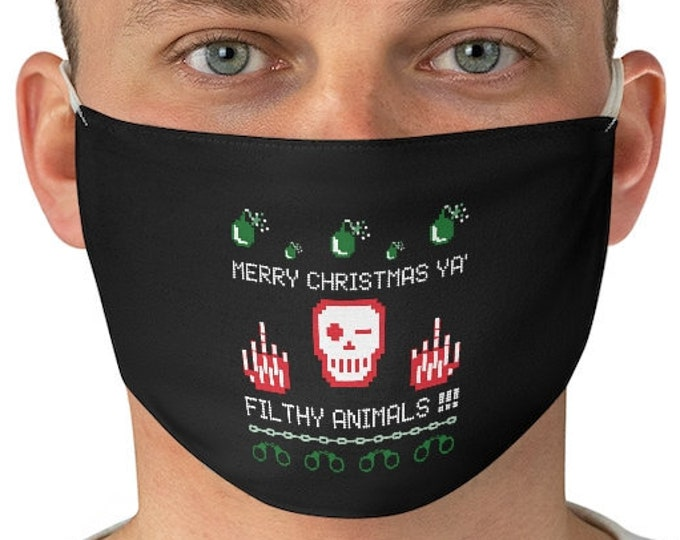 CHRISTMAS FACE MASK - Funny Christmas Mask for Adults - One Size - Unisex Adult Mask - Merry Christmas - Gift - Washable Fabric Face Mask