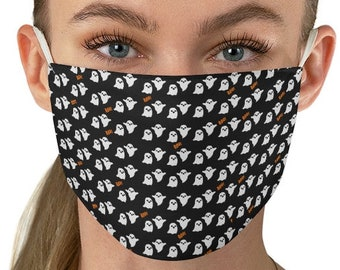 MASKS - HALLOWEEN MASK - Two Layer Mask - Reusable & Washable Fabric Face Mask - Fall Masks -Ghost Mask - Women's Mask - Adult Mask - Autumn