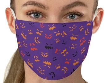 HALLOWEEN FACE MASK Jack O' Lantern Mask Halloween Print Fabric Face Mask - Unisex Adult Halloween Print Mask - Protective Face Covering