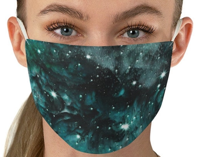 Emerald Green GALAXY Fabric Face Mask - Protective FACE MASK - Women's Face Mask - Celestial Clothing - Rave Clothing - Gift for Her