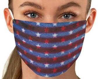 Patriotic Face Mask USA FACE MASK for Adults - Fabric Face Mask - Independence Day Mask - American Flag Face Mask - Red White and Blue Mask