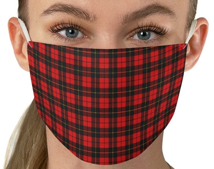 RED TARTAN PLAID Face Mask - Protective Face Covering - Plaid Face Mask - Unisex Adult Face Mask - Fitted Mask - Washable Fabric Face Mask