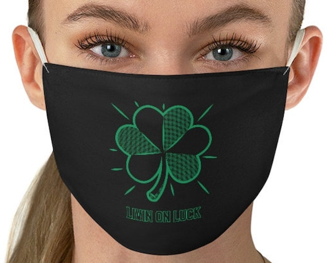 Shamrock MASK Living On LUCK Face Mask PROTECTIVE Double Fabric Face Mask Face Covering for Adults Reusable and Washable Mask Black & Green
