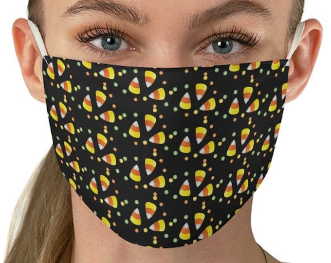 CANDY CORN MASK - Halloween Face Mask - Mask for Adults - One Size - Fitted Mask - Fall Mask - Halloween Mask - WashableFabric Face Mask