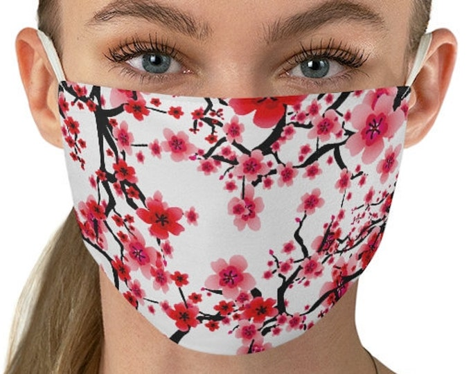 CHERRY BLOSSOM Face MASK Pink and White Floral Print Protective Fabric Face Mask Washable Mask Adult Mask
