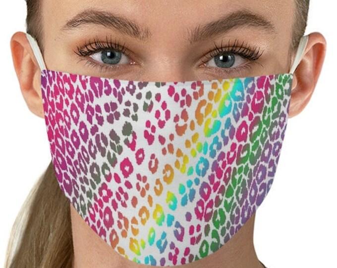RAINBOW CHEETAH MASK - Animal Print Mask - Cheetah Print Face Mask - Adult Face Mask - Fabric Face Mask - Rave Face Mask for Adults - Masks