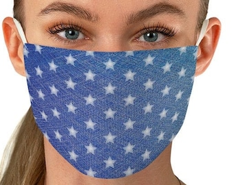 DENIM MASK Blue Denim Print Face Mask with Stars USA American Flag Mask Independence Day Fabric Face Mask Fourth of July Mask Accessories