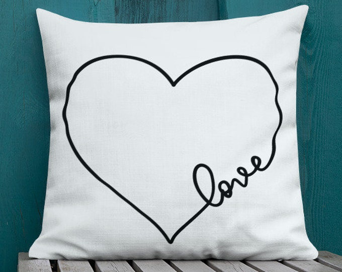 VALENTINES Day PILLOW Decorative Throw Pillow Valentine's Day Home Decor Premium Pillow Couch or Bed Pillow Square Pillow Black and White