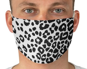 SNOW CHEETAH MASK Snow Leopard Print Fabric Face Mask - Animal Print Face Mask White and Black Cheetah Print Mask - Protective Face Covering