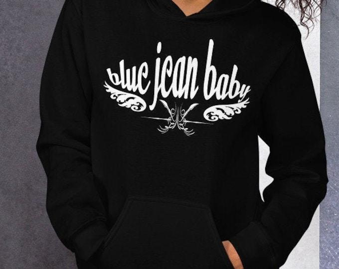 Blue Jean Baby Hooded Sweatshirt for Men or Women HOODIE Statement Clothing UNISEX Back to School Gift for Elton John Fan Gift Music Hoodie