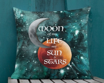"""Game of Thrones Decorative THROW Pillow Game of Thrones Gift Home Decor Square Double Sided 18""""x18"""" Couch Pillow Galaxy Print Sun Stars GOT"""