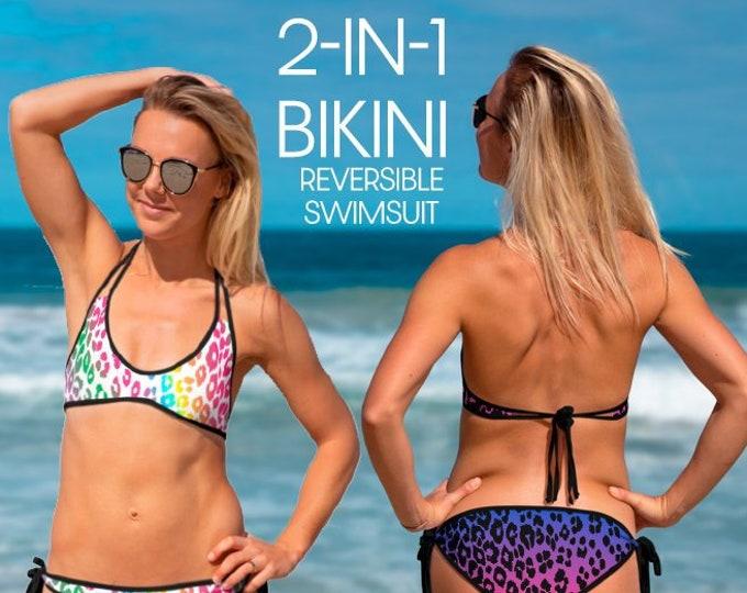 CHEETAH PRINT Bikini Reversible Bikini 2-IN-1 Womens Two Piece Cheetah Swimsuit Leopard Print Bathing Suit Animal Print Swimwear Summer Gift