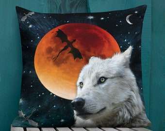"""Arctic WOLF Game of Thrones Decorative THROW PILLOW Moon Galaxy Stars  Dire Wolf White Wolf Dragon Pillow Double Sided Print 18""""x18"""" Square"""