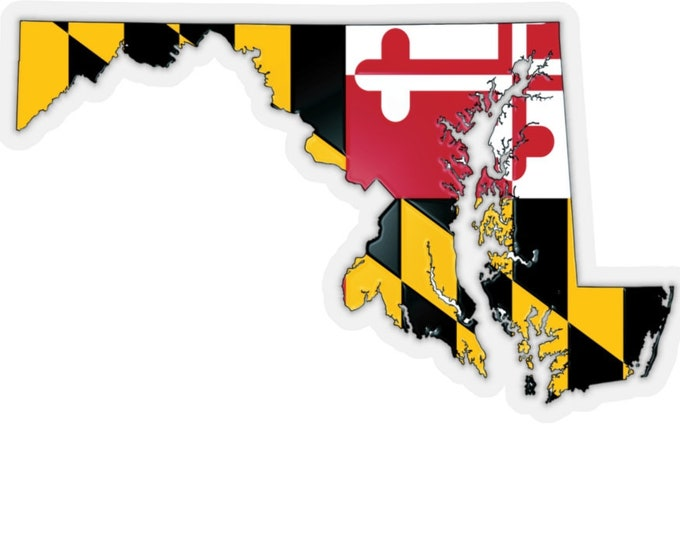 MARYLAND STATE STICKER Maryland Flag State of Maryland Cut Out Kiss-Cut Stickers Vector Art Scrapbooking Card Making Paper Craft Stickers