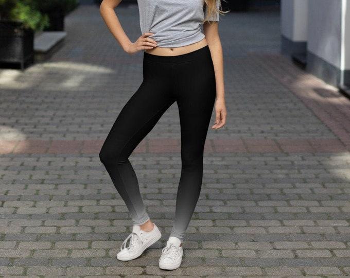 Women's Leggings Yoga Pants BLACK Grey Ombre Print YOGA LEGGINGS All-Over Print Leggings Workout Leggings Fashion Leggings Fitness Leggings