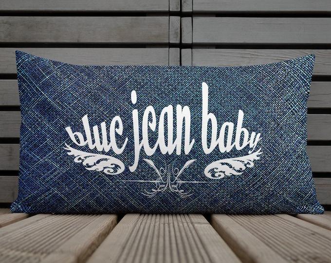 Denim Pillow Blue JEAN Baby THROW PILLOW Decorative Pillow Home Decor Premium Pillow Square or Long Shape Elton John Fan Decor Gift for Home