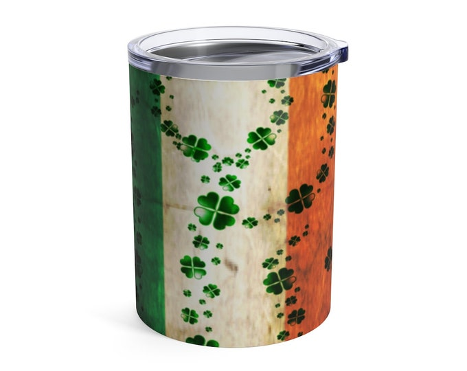Paddy's Day MUG Stainless Steel Tumbler 10 oz Travel Mug IRISH Flag CLOVER Shamrock Mug Gift for St Patricks Day Tumbler Drinkware Gift