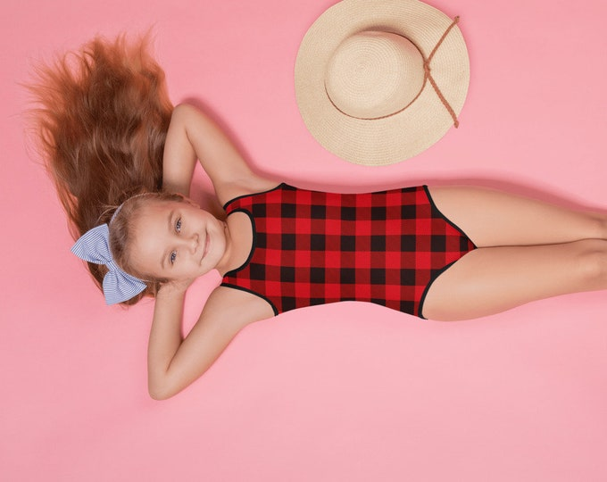 RED BUFFALO PLAID Swimsuit One Piece All-Over Print Kids Swimsuit Girls Swimsuit Bathing Suit Toddler Swimwear Red Plaid Bathing Suit for Ki