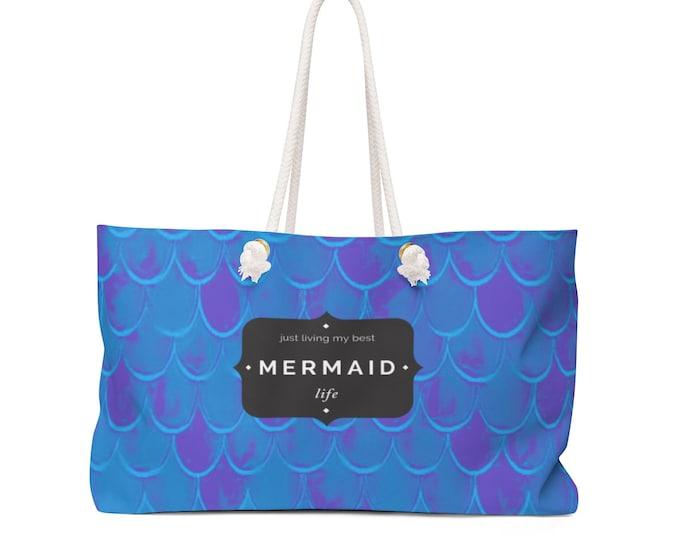 Ariel MERMAID TOTE Weekender Bag Living my Best Mermaid Life BEACH Bag Beach Tote Travel Tote Gift for Her Overnight Bag Travel Bag Yoga Bag