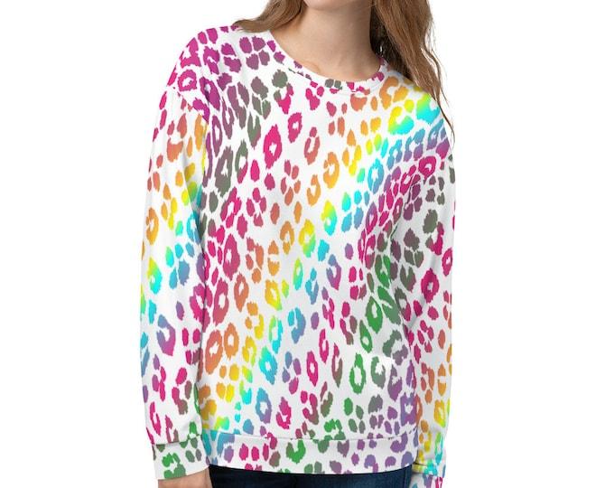 CHEETAH SWEATSHIRT Summer Beach Sweatshirt Animal Print Clothing  Unisex Sweatshirt Colorful LEOPARD Cheetah Print Top for Men or Women