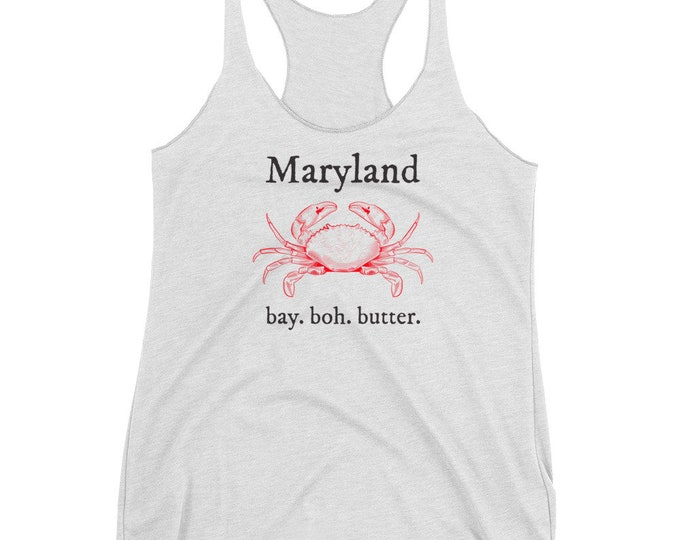 MARYLAND OLD Bay and Boh Tank Top Women's Racerback Tank Blue Crab Tank Top Maryland State Pride Gift Maryland Clothing Yoga Tank Top Women