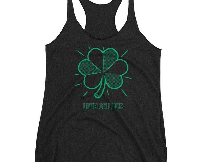Saint Patricks Day Tank Top Clover Tank Top Shamrock Tank Top Women's Racerback Tank Top WOMENS TANK TOP  Yoga Tank Top Gift for Her Lucky