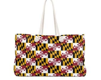 Weekender Bag MARYLAND FLAG TOTE Weekender Tote Bag Oversized Travel Tote Beach Bag Maryland Tote Maryland Gift Yoga Bag Gift for Her
