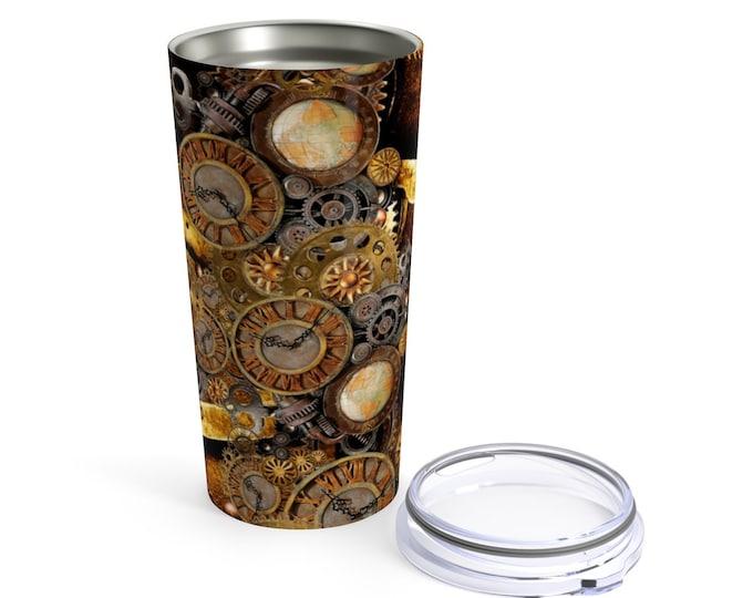 STEAMPUNK Tumbler 20oz Travel Mug Drinkware Barware Travel Cup Water Glasses Home and Living Steampunk Mug Travel Cup Hot and Cold Beverages