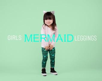 Green Mermaid Scale Mermaid Leggings GIRLS MERMAID LEGGINGS All-Over Print Kids Leggings Green Fish Scale Leggings for Kids Toddler Leggings
