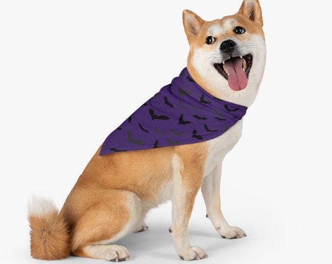 Pet Bandana HALLOWEEN DOG CAPE Bat Print Dog Bandana Purple and Black Halloween Costume for Dogs Dog Outfit Dog Clothing Dog Accessories