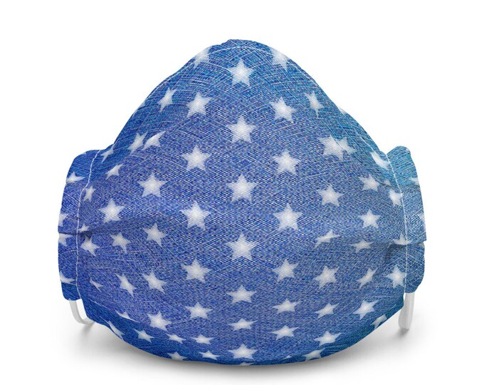 Denim FACE MASK with Stars Premium face mask for Adults Protective Face Covering Fourth of July Mask Independence Day USA Mask Summer