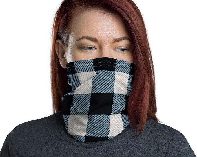 BUFFALO PLAID MASK Black and White Plaid Face Covering Neck Gaiter for Adults Unisex Protective Face Mask Face Covering Accessories