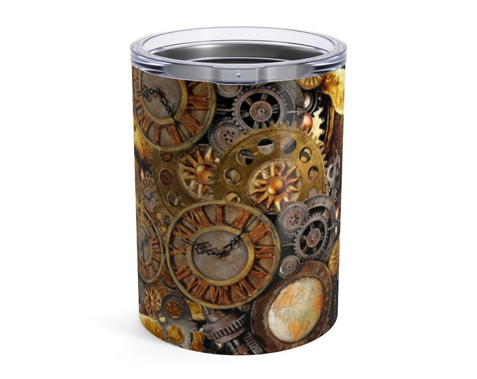 STEAMPUNK TUMBLER Stainless Steel Travel Mug Insulated Tumbler 10oz Water Glass Travel Cup Hot or Cold Beverages Housewarming Gift Barware