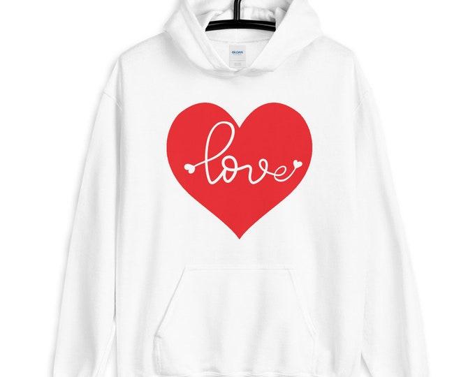 VALENTINES DAY HOODIE Unisex Hoodie Heart Hoodie Sweatshirt for Valentines Day Love Sweatshirt for Him or Her Hooded Sweatshirt Gift for Her
