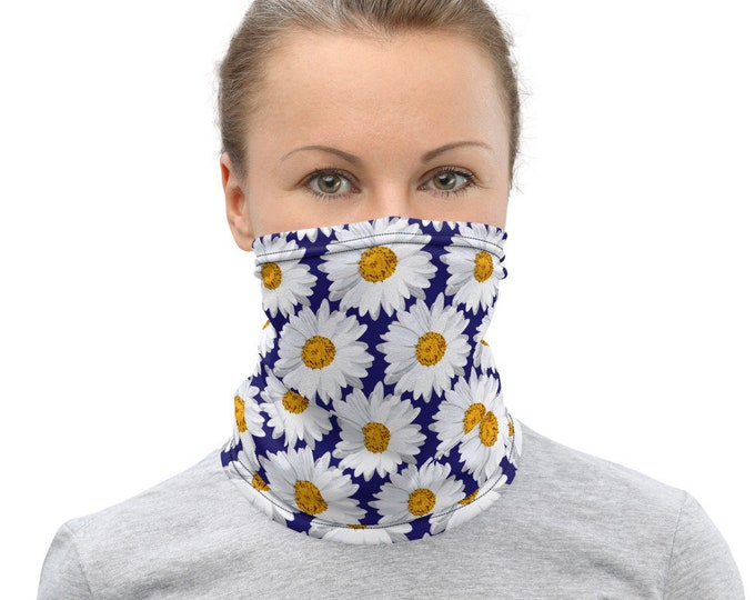 DAISY FACE MASK Spring Floral Face Mask Face Scarf and Hair Accessory Neck Gaiter Face Covering Protective Face Scarf Trendy Spring Mask