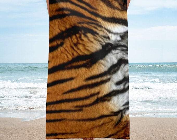 TIGER Stripe Animal Print BEACH TOWEL Large Beach Towel / Bath Towel Home Decor Bath Decor Animal Print Home Decor Gift for Mom Gift for Her