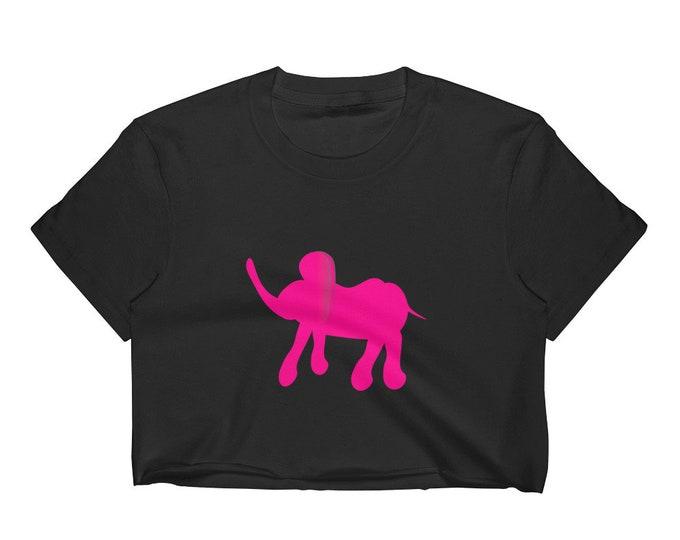 Pink Elephant CROP T-SHIRT Womens Crop Top Yoga Top Los Angeles Apparel 2332 Fine Jersey Short Sleeve Cropped T-Shirt w/ Tear Away Label