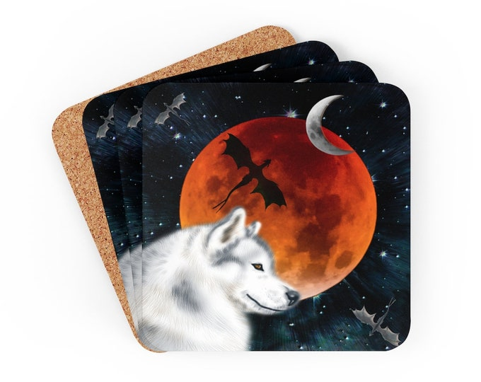 FULL MOON WOLF Coasters Set of Four Corkwood Coaster Set White Wolf Dire Wolf Dragon Moon Cosmic Galaxy Coasters Home Decor Gift for Home