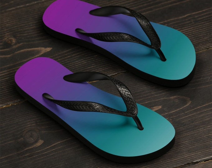 OMBRE FLIP FLOPS Beach Flip Flops Beach Clothing Summer Clothing Beach Accessories Thong Sandals Rave Sandals Unisex Flip-Flops Gift for Her