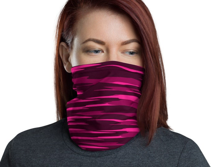 Neck Gaiter Pink and Black Camouflage Camo Mask Print FACE MASK Face Scarf Protective Face Covering Adults One Size Fits All Made in the USA