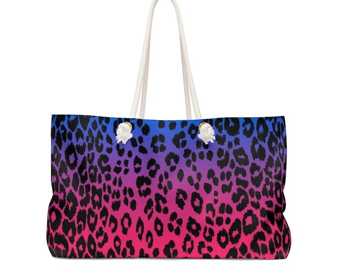 LEOPARD BEACH TOTE Animal Print Leopard Print Cheetah Print Pink & Purple Tote Bag Weekender Bag Travel Tote Travel Bag Designer Beach Tote