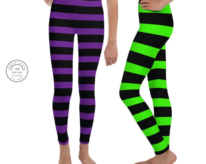 Green and Black Witch Striped LEGGINGS HALLOWEEN Youth Leggings GIRLS Witch Yoga Pants Yoga Leggings for Girls Kids Leggings Junior Leggings