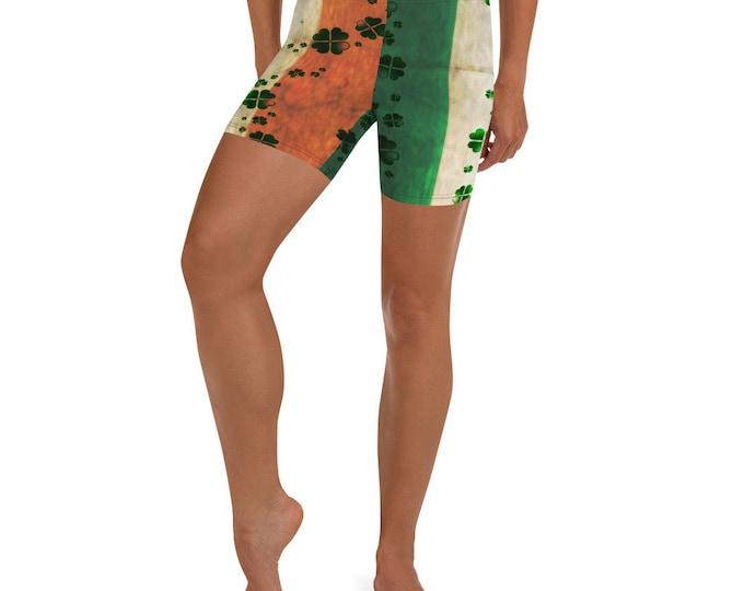 IRISH FLAG SHORTS Women's Shorts Workout Clothing Yoga Shorts St Patricks Day Shorts Clover Shorts Shamrock Shorts Green and Orange Shorts