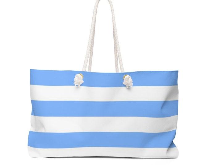 Blue and White STRIPED TOTE BAG Beach Bag Overnight Bag Weekender Bag Travel Tote Diaper Bag Yoga Bag Gym Bag Travel Bag Gift Bag Baby Bag