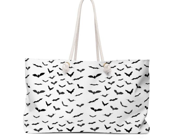 Weekender Bag - BAT TOTE BAG - Black and White Bat Beach Bag Travelers Tote - Pool Bag - Weekender Tote - Weekender Bag - Halloween Bag
