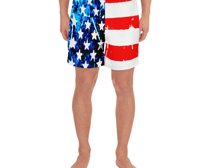 AMERICAN FLAG SHORTS Stars and Stripes Red White and Blue Men's Athletic Long Shorts Work-Out Shorts Basketball Shorts Mens Joggers Bottoms