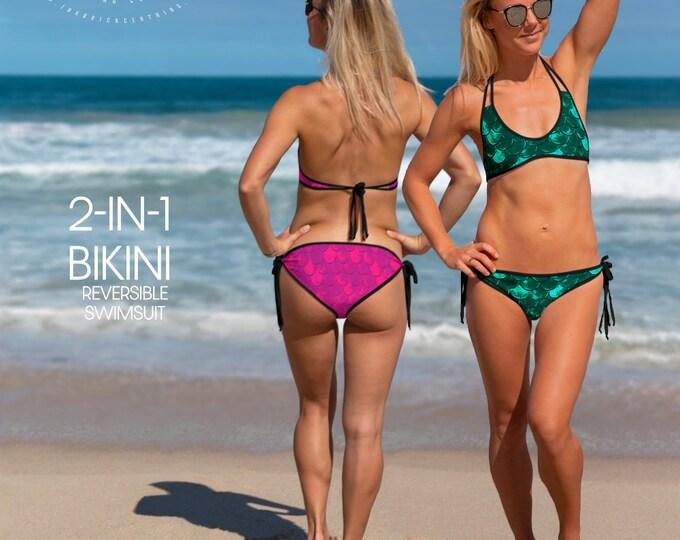 MERMAID BIKINI TOP Reversible All-Over Print Bikini Top Two in One Bathing Suit Womens Swimwear Two Piece Swimsuit Separates Festival Top