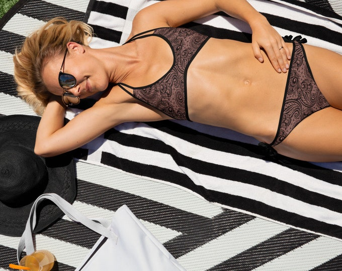 WOMENS BIKINI LACE Print Bikini Black and Nude Lace Paisley Print Reversible Bikini 2-in-1 Swimwear for Women Bathing Suit Top and Bottom